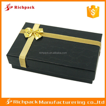 Top quality black croc paper bow tie jewelry box with gold ribbon