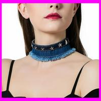 KDA4880 Punk Denim Choker Necklace For