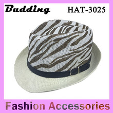 Popular straw top hats with zebra print pattern, Jazz hats for men and women summer beach caps