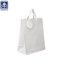 17122622 Factory Wholesale Recycled Optical Shopping Silver White Custom Printed Paper Carrier Bag with Logo