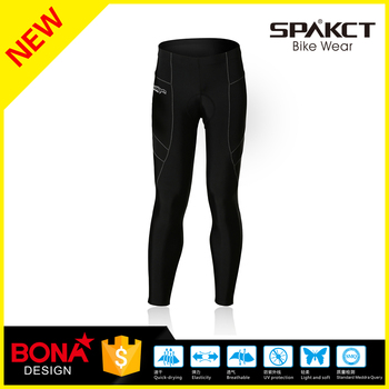 well known brand men long Four needles six lines weave cycling pants black color moisure wicking sportswear