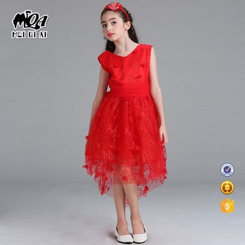 MOQ 1 Pcs Baby Girl Flower Tail Irregualr Floral Summer Dress Children Clothes WGL1703