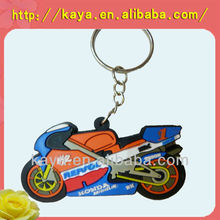 Factory supply OEM 3d rubber motorcycle keyrings
