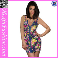 Sexy sleeveless black material with flower printed lady dress fashion thailand