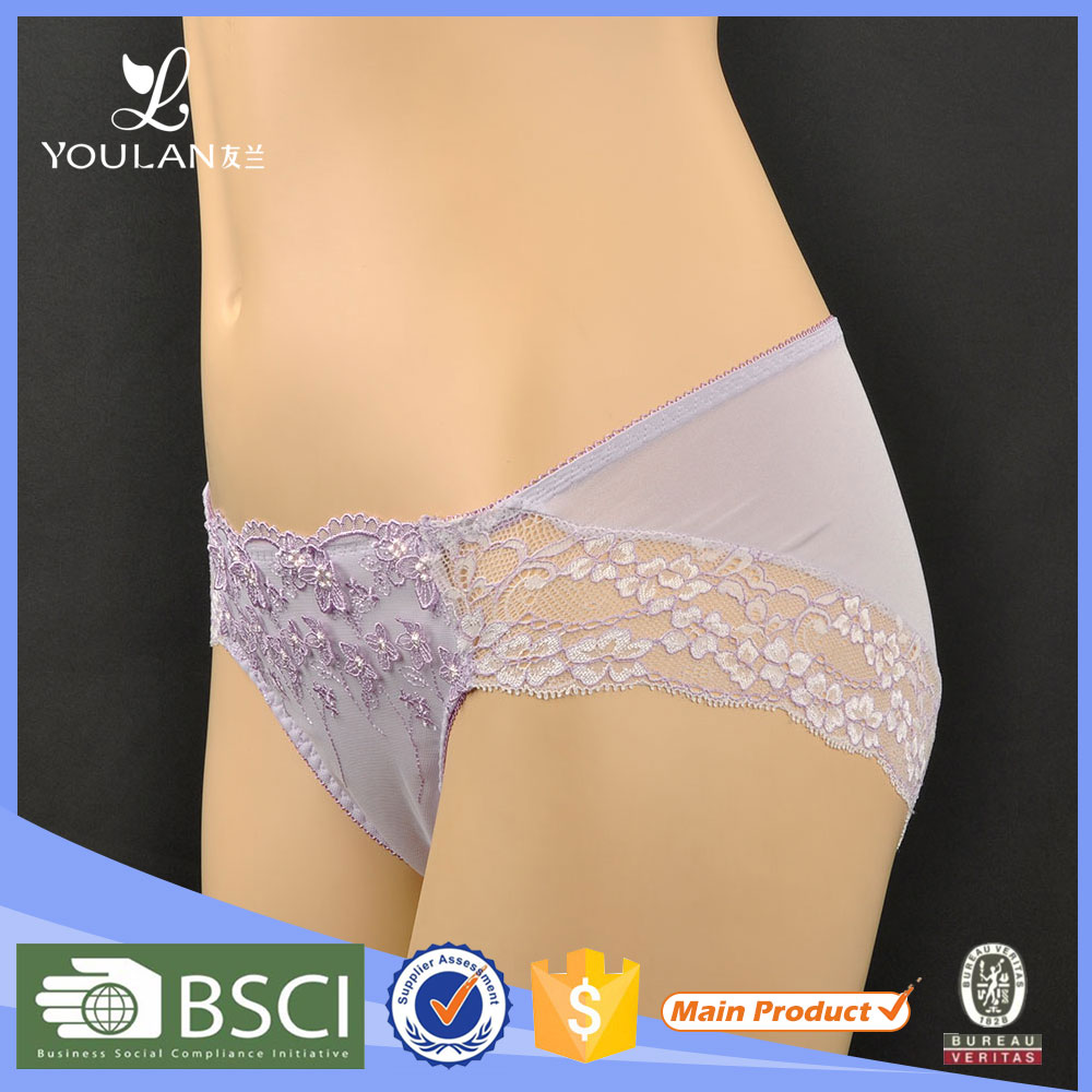 China Manafacturer Customized Sexy Briefs Transparent Sheer Lace Panties For Woman Underwear
