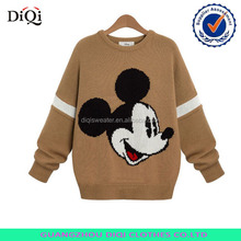 European low round neck sweaters of new fund of 2014 autumn-winter mickey sets loose bat sleeve sweater coat