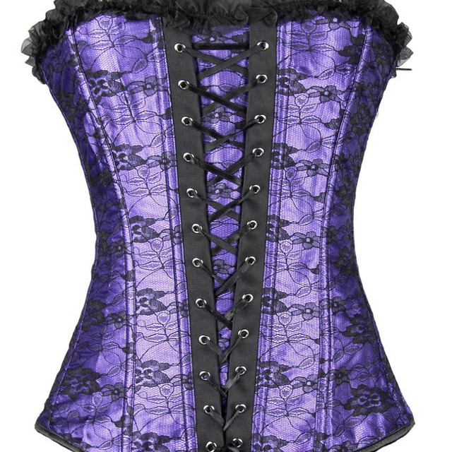 Women's Sexy Lace up Boned Overbust Corset Bustier Top Waist Cincher Body Shaper Black/Red/Purple