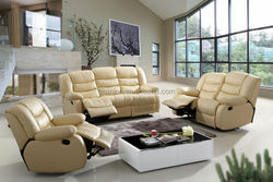 Genuine Leather Beige Recliner Sofa Set, Modern Living Room Recliner Leather Sofa