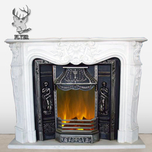 Indoor decoration white marble fireplace mantel kits