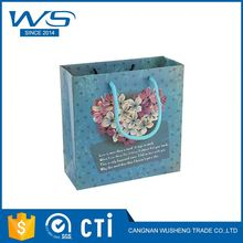 New Hot Product Super Quality Luxury Hand Made Flower Blue Paper Gift Bags