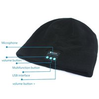 Warm Comfortable Fashionable (black) Beanie Winter Hat Stocking Cap Wireless Bluetooth Headphones hats