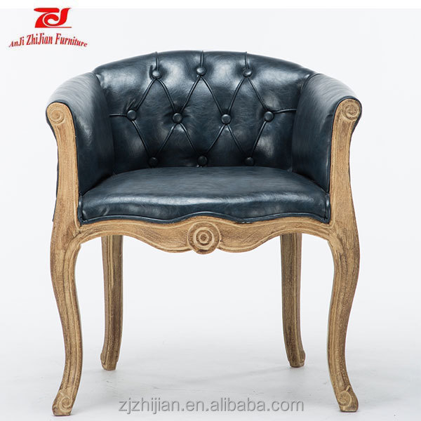 Cafe sofa wooden Tufted chair with armrest old french style FurnitureZJ-A03
