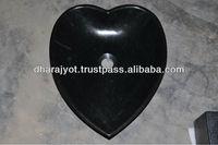 Black Granite Heart Shaped Kitchen Counter Sink