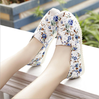 2016 Hot selling casual shoes, New arrival cheap women flat canvas shoes