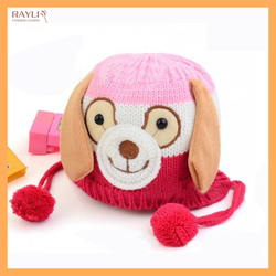 Stock knit cute dog pattern winter animal beanie cartoon hats for kids with balls