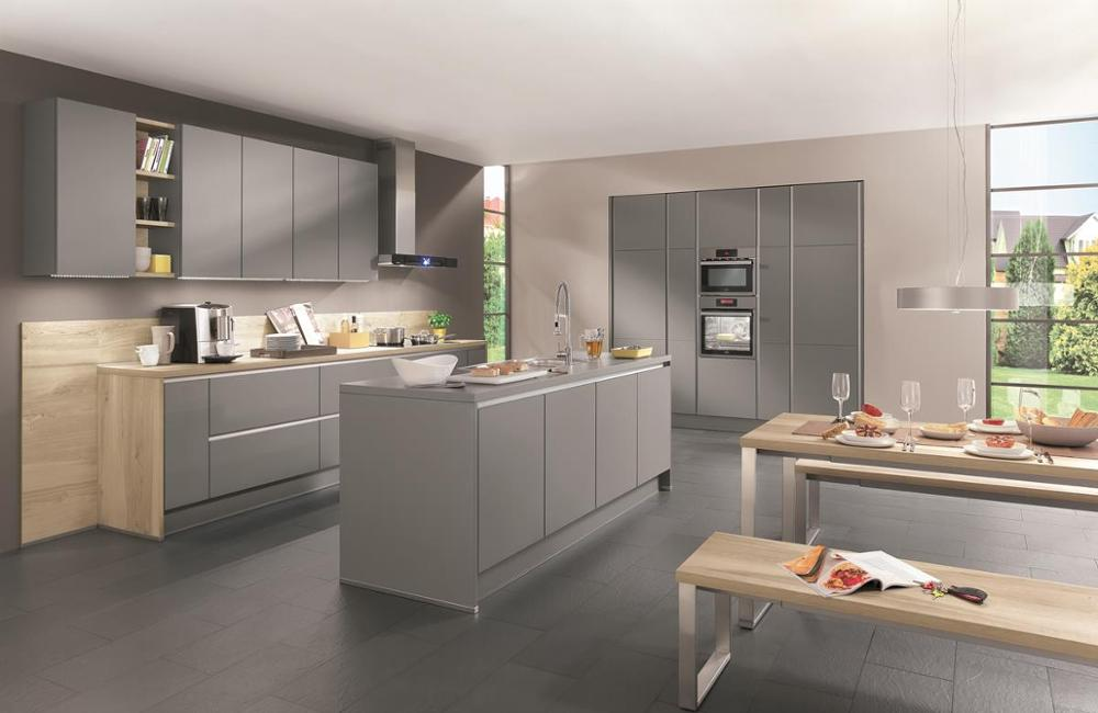 Simple Modern Self Assemble Knock Down Grey Kitchen Cabinet Imported from Hangzhou