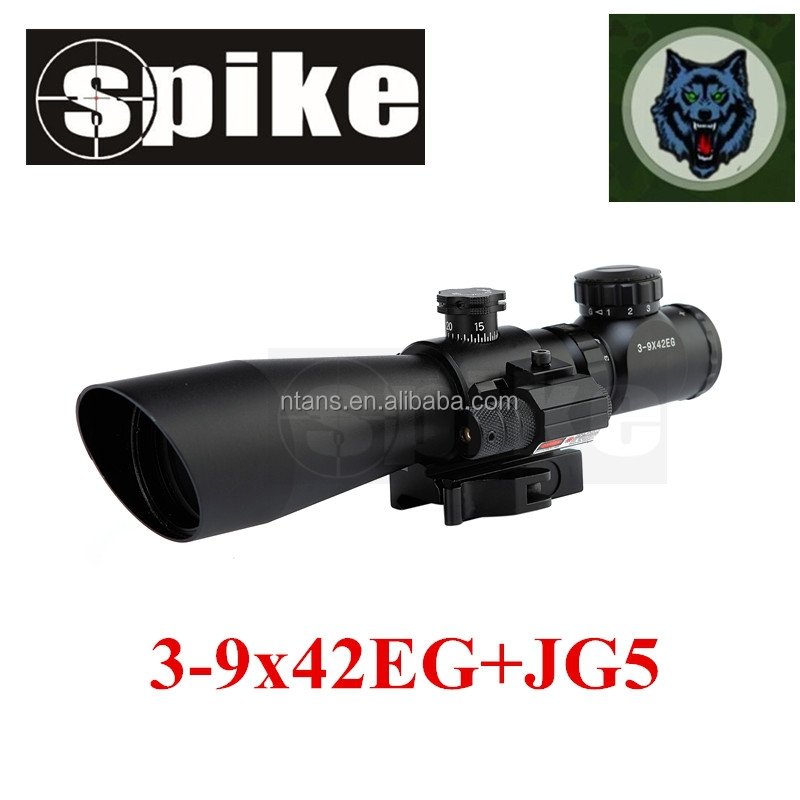 Tactical 3-9X42mm range finder reticle optical hunting rifle scope with red laser sight for air rifle/air guns