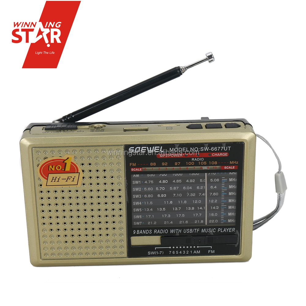 9 Bands 2 kinds battery support USB/TF music player am fm mw sw radio multi band radio receivers