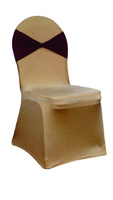 White unique Spandex Stretchable Lycra Wedding Chair Covers with tie back and damask sash Royal white on a Banquet Chair Zoom