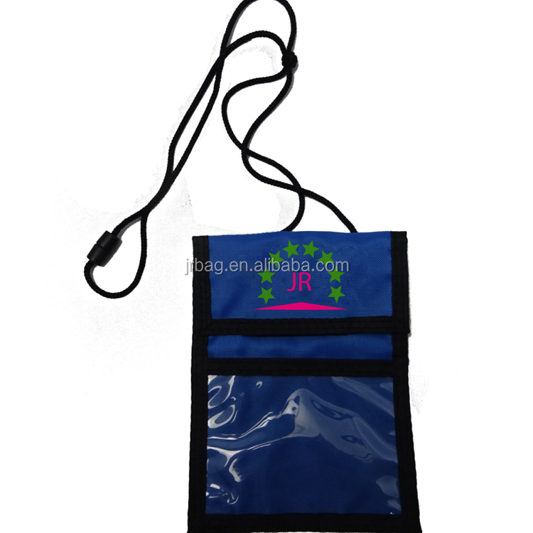 Magic tape Closed Visitor Neck wallets & ID Card Pouches