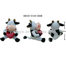 Plush Sitting Cow Valentine's Day Gift Stuffed Toy with Heart