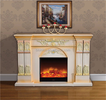 French Style Hand Painted Fireplace Mantel, Living Room Space Heater With  Flame Smoke Coal Wood