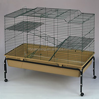 Double yellow wire large rabbit breeding cage with stand