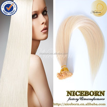 prebonded hair double drawn remy human hair U tip/Flat tip/I tip hair extensions Wholesale Keratin #613 Flat Tip Hair extension