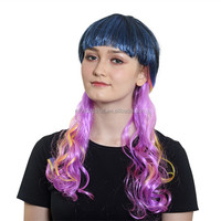 Online Shopping Alibaba Uae Wholesale Hair Accessories Women Synthetic Long Wavy Gradient Blue & Pink Movie Cosplay Wig