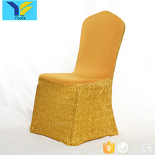 China factory banquet party glitter metallic gold spandex sequin chair cover for wedding