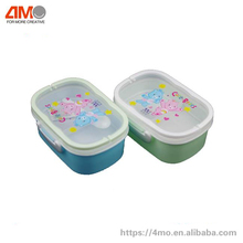 Plastic lunch box with handle and spoon, 1100ml kids one Layer Mess Tin