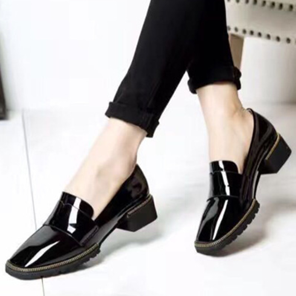 Fashion ladies office wear shoes with chunky heel