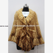 Knitted mink fur cloak fur cape Poncho with best quality for women