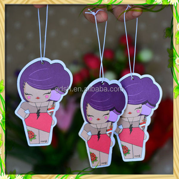 Cartoon printing logo car air freshener hanging eco absorbent paper perfume card