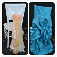 sinofur quality material ruffled wedding chair cover