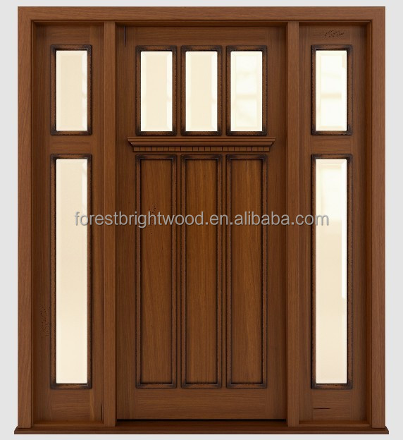 Traditional Design Solid Wood Entry Door With Frosted Glass
