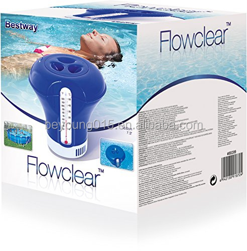"7.3"" Chemical Dispenser Floater and Thermometer Combo for Swimming Pools"
