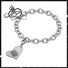 Stainless Steel North Carolina State Wolfpack Heart Charm Bracelet