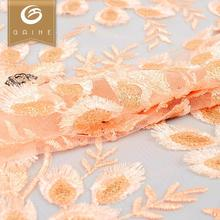 Manufacturer factory luxury Orange sequin 3d french embroidered fabric lace
