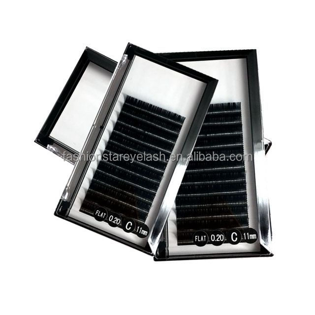 Soft New Ellipse (flat) Lashes 0.15 mm 0.20mm Faux Mink Flat Shape Lashes individual Eyelash Extensions Tray J B C D curl