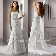Elegant Crystal Waistband Court Train A Line Sweetheart Draped Cascading Wedding Dress