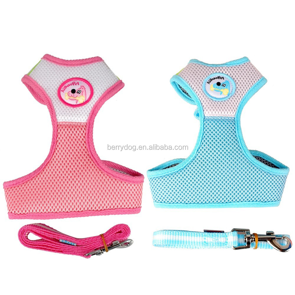 2015 New Wholesale Lead Dog Nylon Mesh Harness High Quality With Leash for for Puppy Pets
