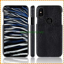 Crocodile pattern PU leather full protective back Cover case for iphone X