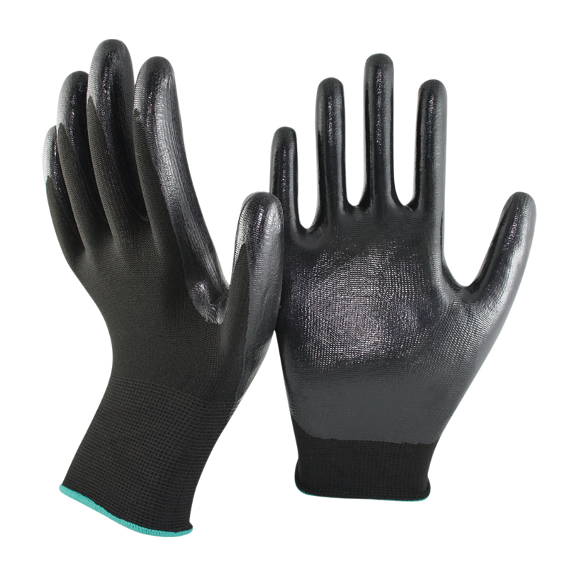 SRSAFETY 13 gauge knitted nylon coated black nitrile gloves/working nitrile gloves/<strong>safety</strong> working gloves