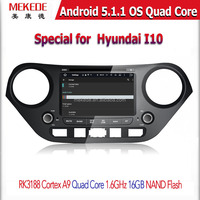 MEKEDE Android5.11 Wholesale Car DVD player GPS Navigato For 10.1inch Hyundai I10 with BT radio Ipod