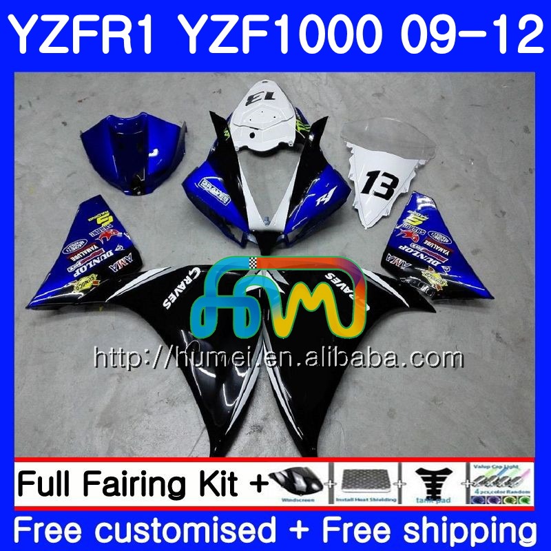 Body For YAMAHA YZF-<strong>R1</strong> blue black YZF-1000 YZF <strong>R1</strong> <strong>09</strong> 10 11 12 104HM57 YZF1000 R 1 YZF 1000 YZFR1 2009 2010 2011 2012 Fairing