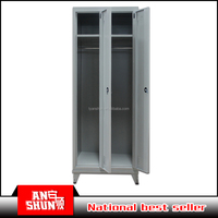 Metal clothes cabinet 2 door steel wardrobe with mirror