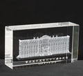 newest customized 3d laser engraved crystal building model
