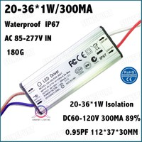 3 Pcs PFC AC85-277V 36W Spotlight LED Driver 20-36x1W 300MA DC60-120V LED Power Constant Current IP67 Waterproof Free Shipping