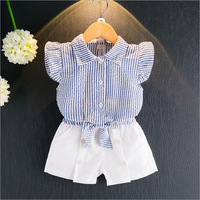 F10231A Korean little girls striped shirt + shorts suits wholesale children's clothing
